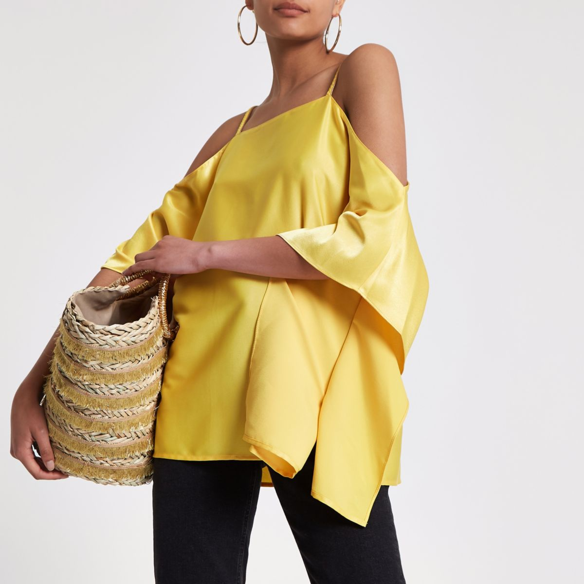 Yellow chain trim cold shoulder top
