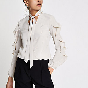 Cream frill detail blouse