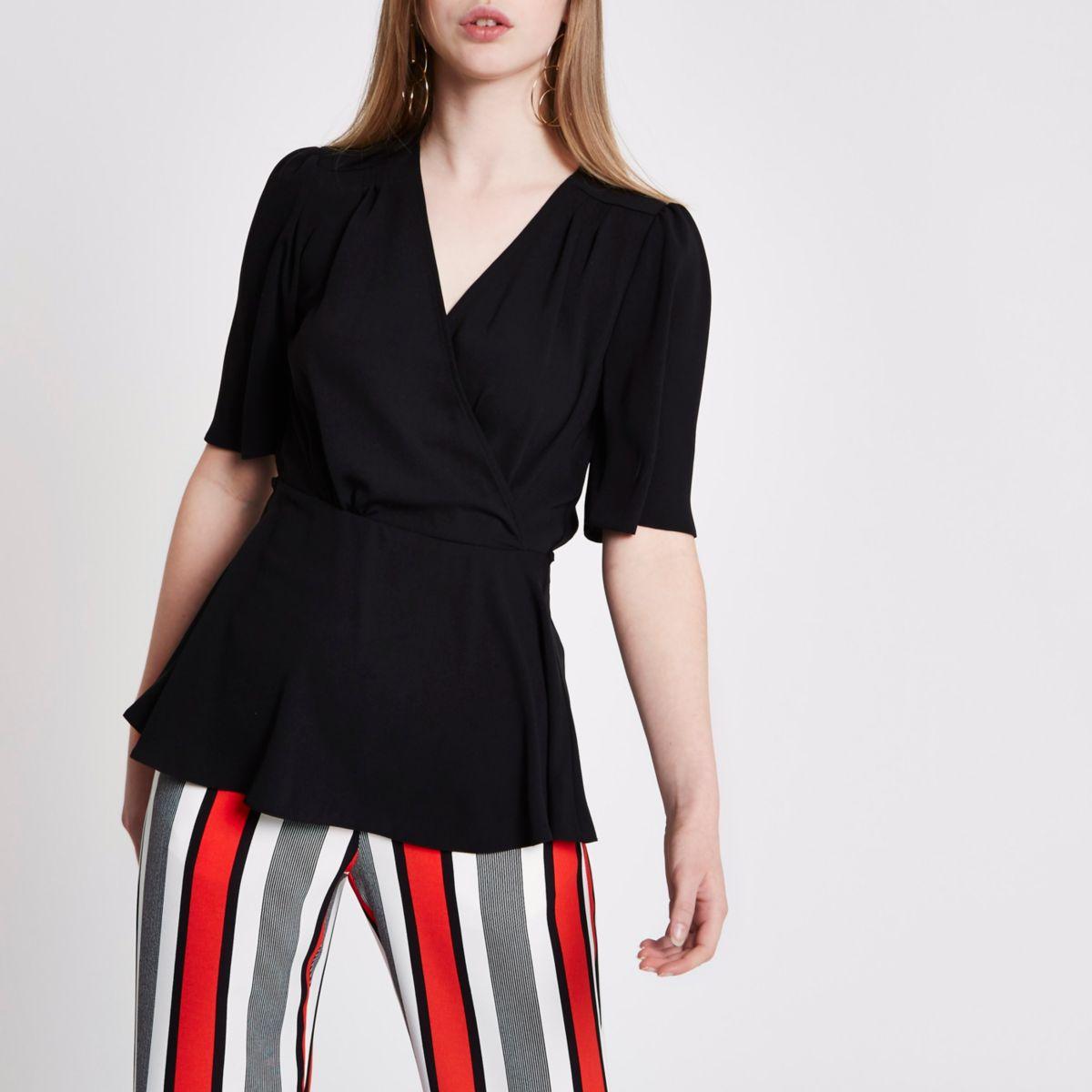 Black short sleeve tie waist blouse