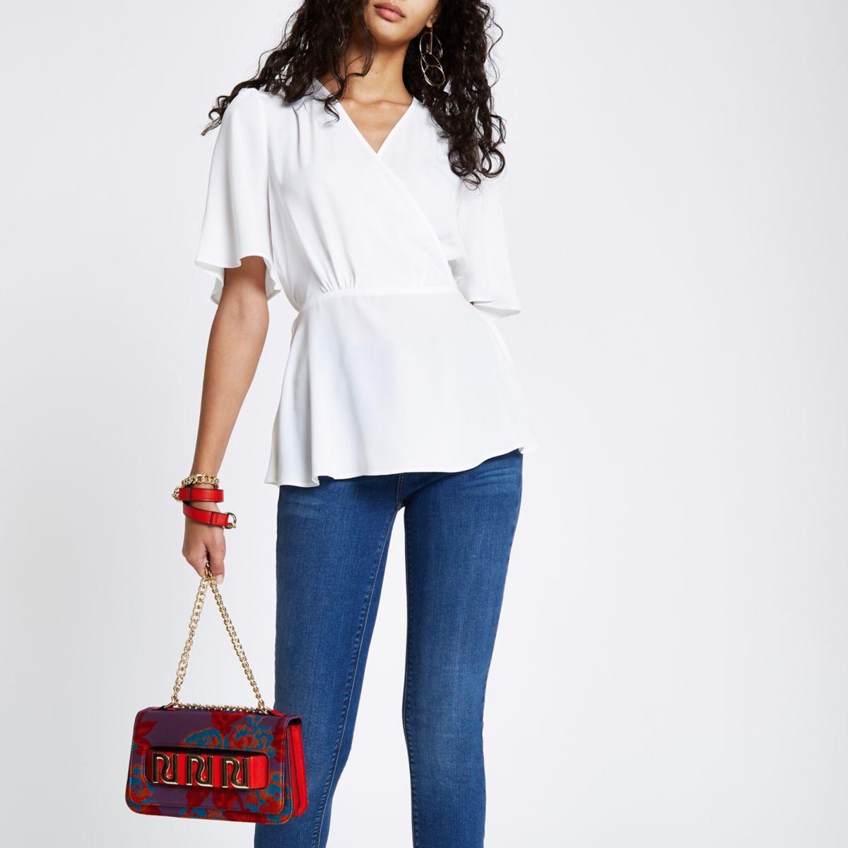 White kimono sleeve wrap blouse