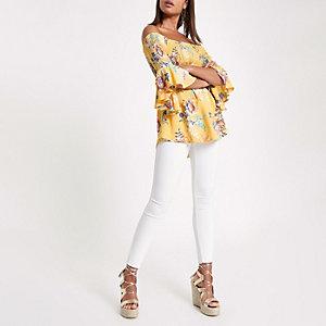 Yellow shirred print bardot frill sleeve top