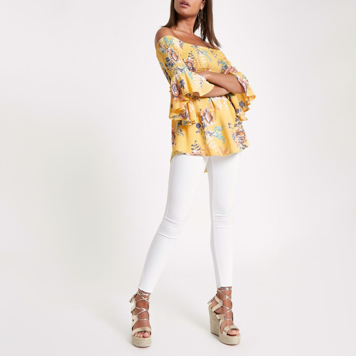 Yellow shirred print bardot frill sleeve top