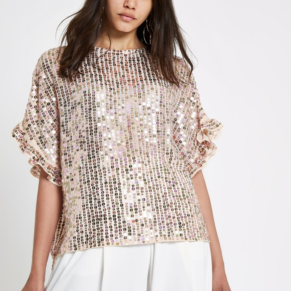 Cream sequin embellished frill sleeve top