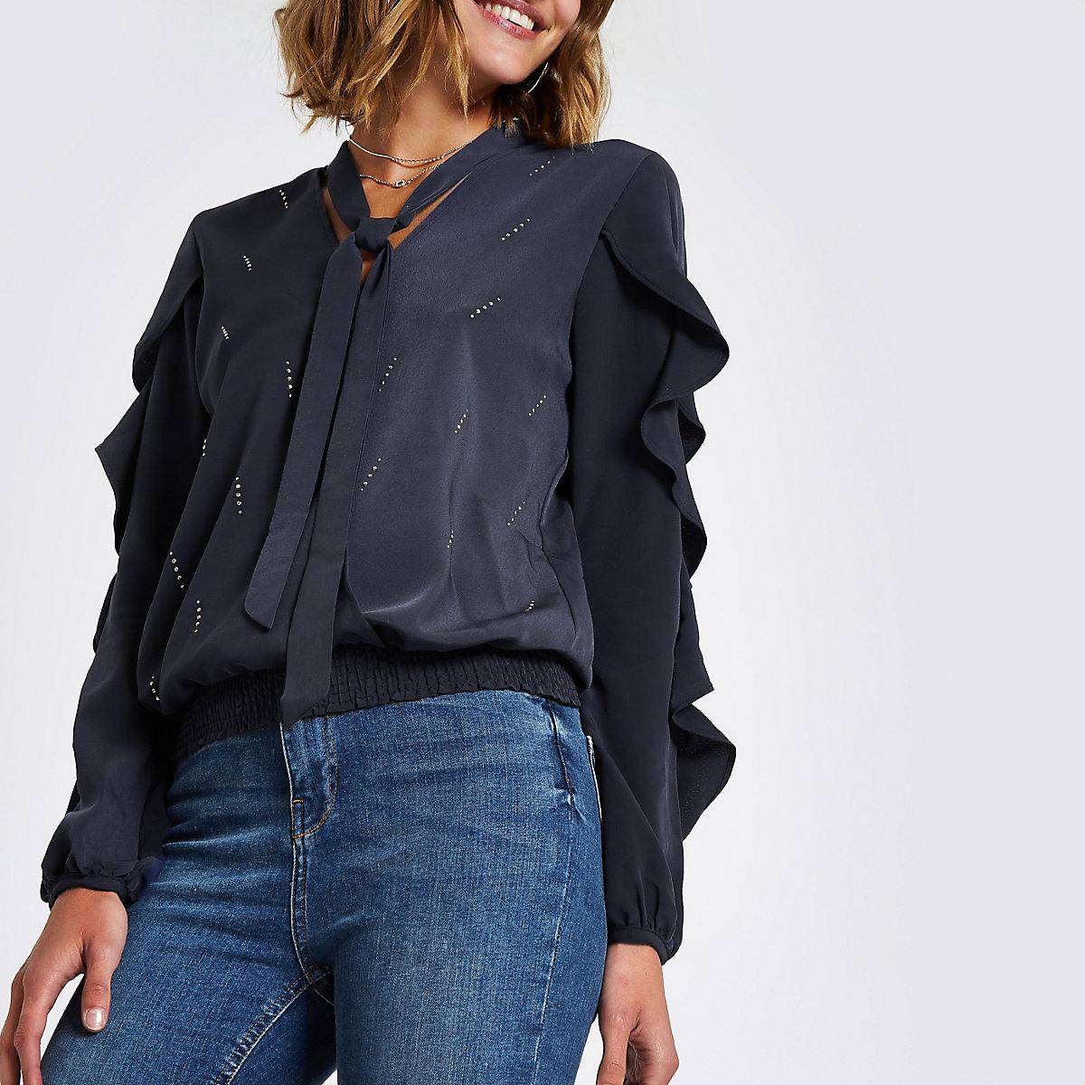 Navy rhinestone heatseal frill sleeve blouse