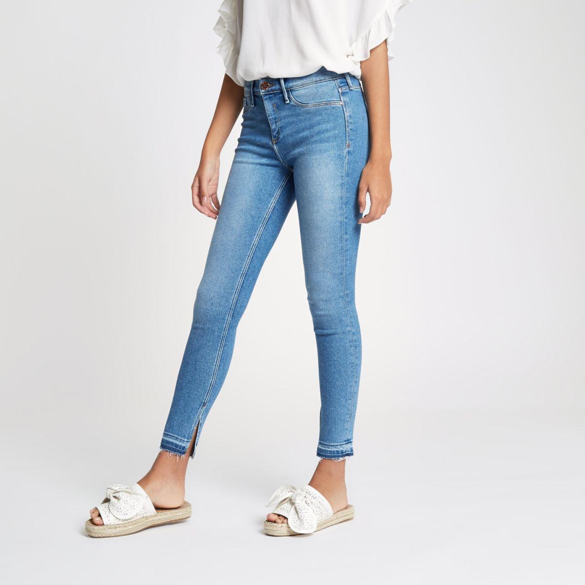 Mid blue Molly split hem mid rise jeans