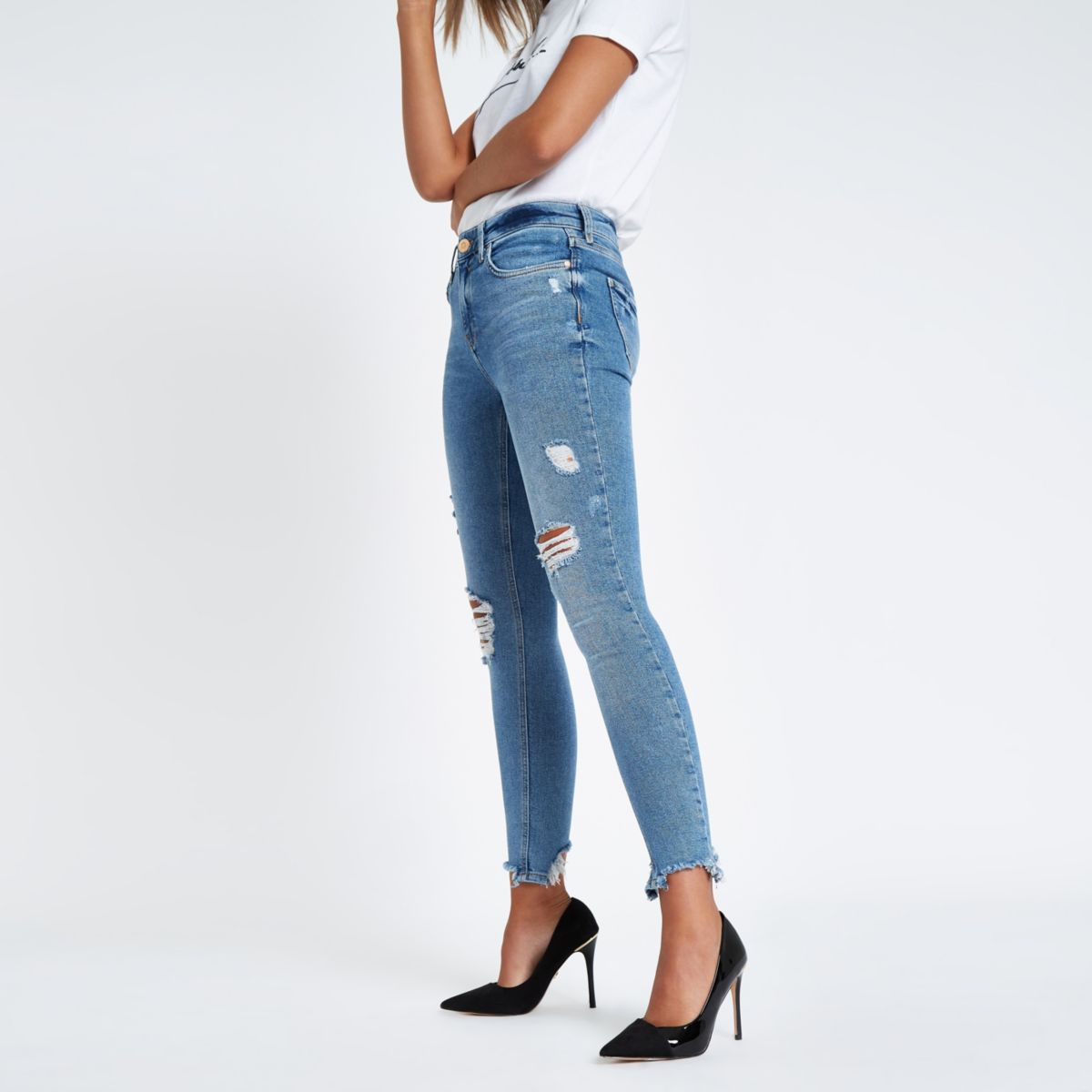 Light blue Amelie skinny mid rise rip jeans