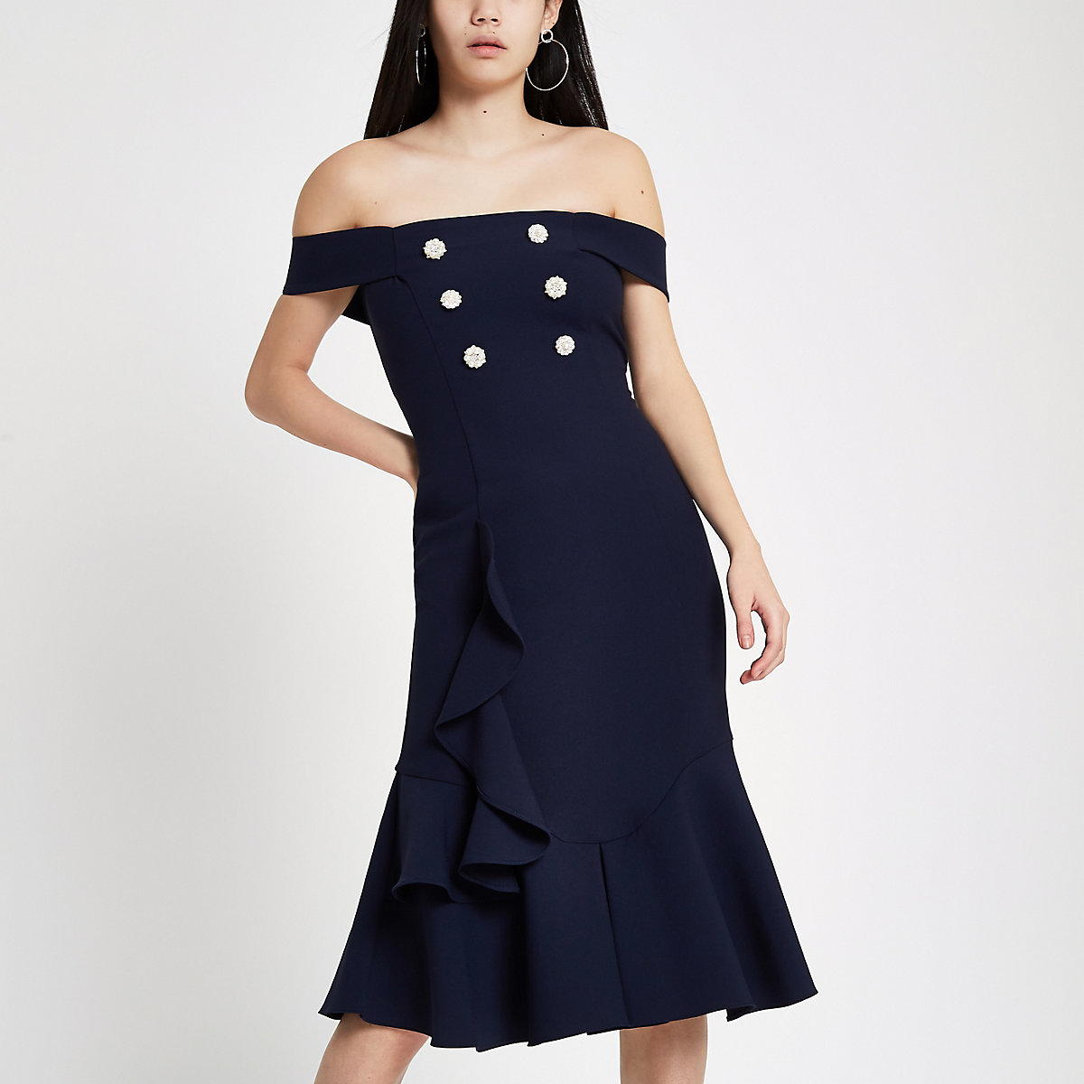Navy pearl embellished bardot bodycon dress