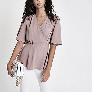 Pink kimono sleeve wrap blouse