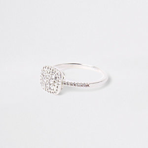 Silver tone square diamante pave ring