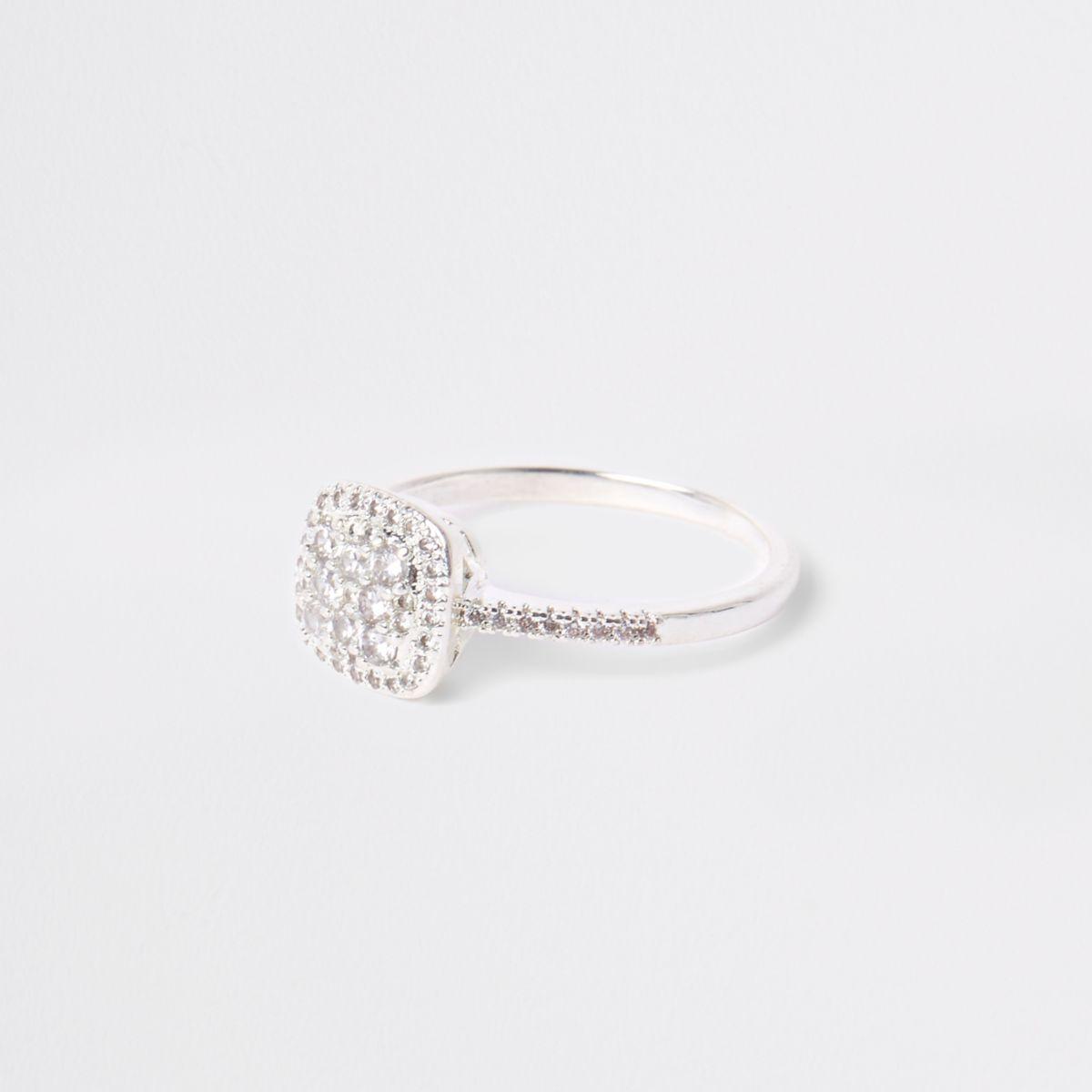 Silver tone square diamante pave ring
