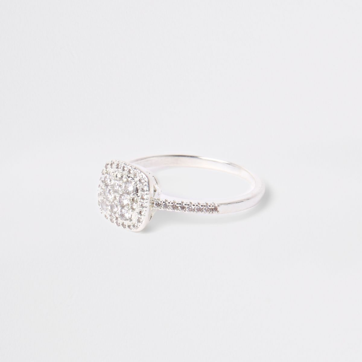 Gold tone square rhinestone pave ring