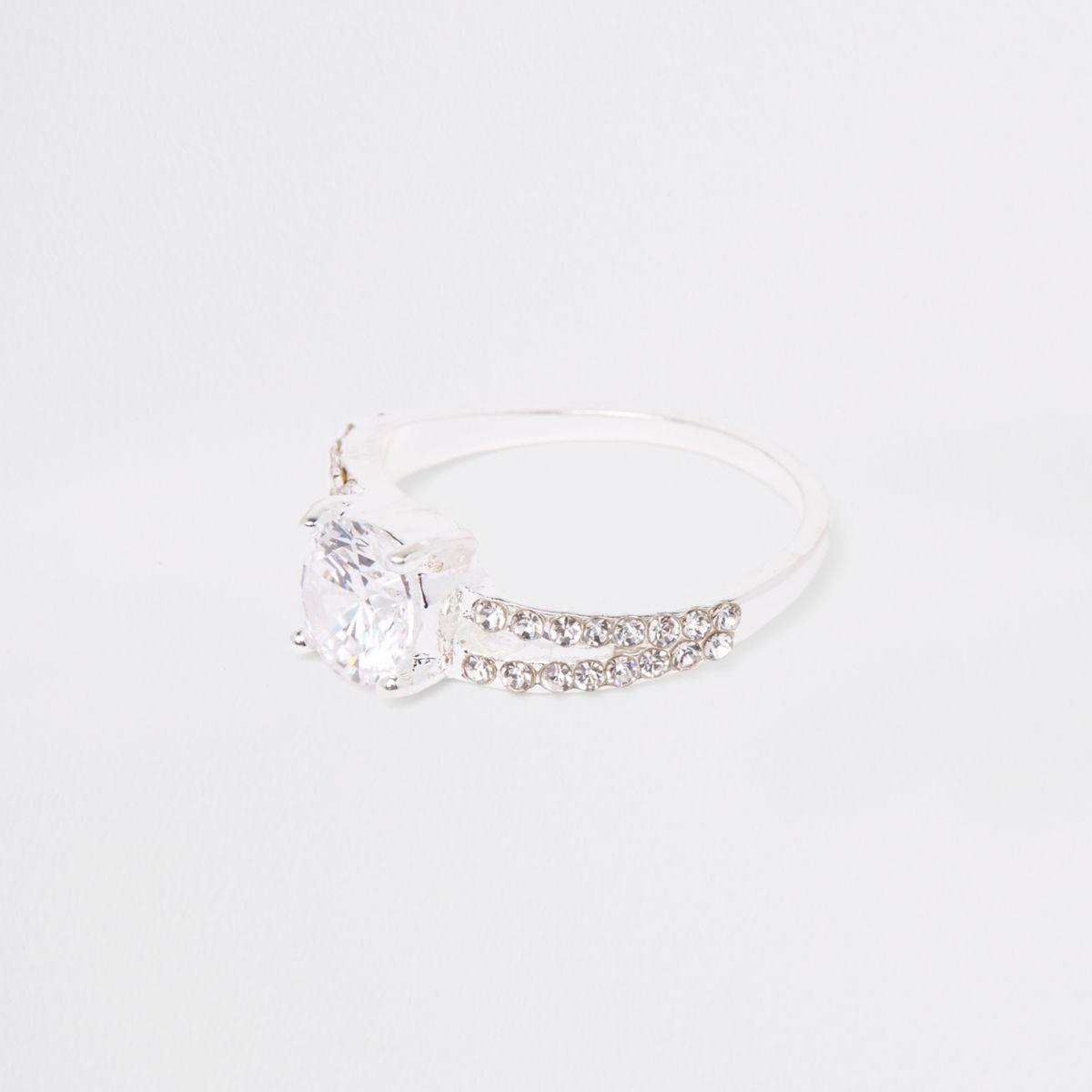 Silver tone split band diamante ring