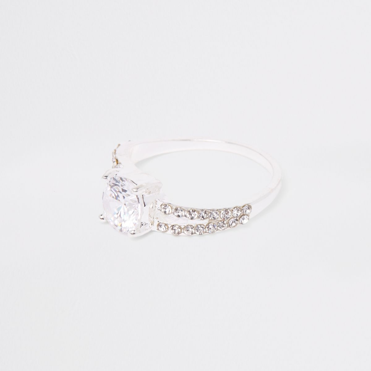 Silver tone split band rhinestone ring
