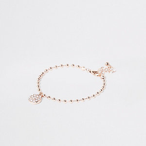 Roségoudkleurige armband met ketting en balletje