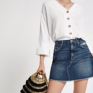 Cream button up long sleeve blouse