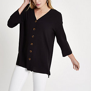 Black button up long sleeve blouse