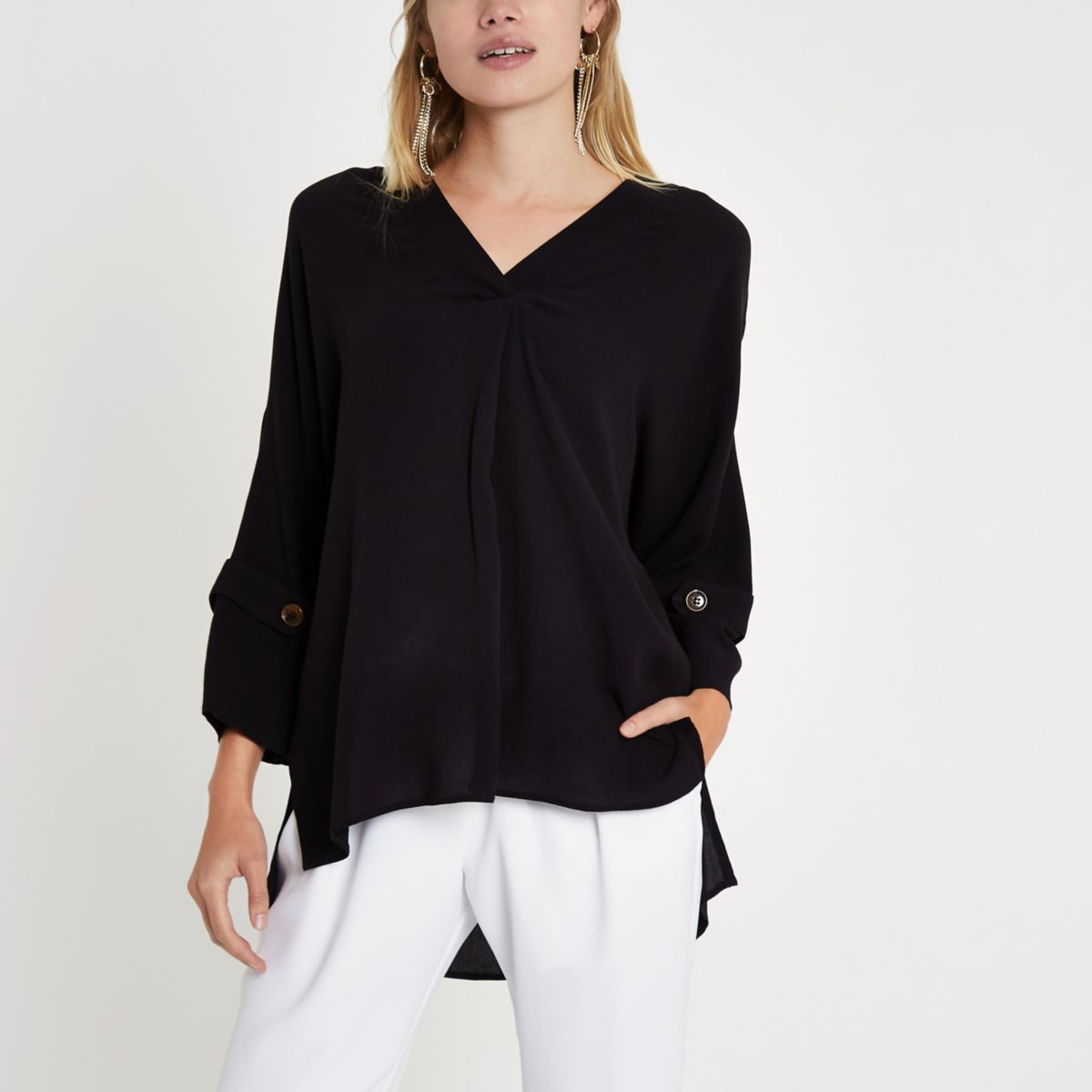 Schwarze, langärmlige Bluse