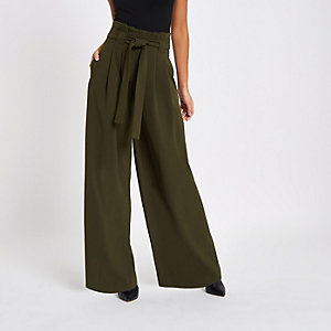 Khaki green wide leg trousers