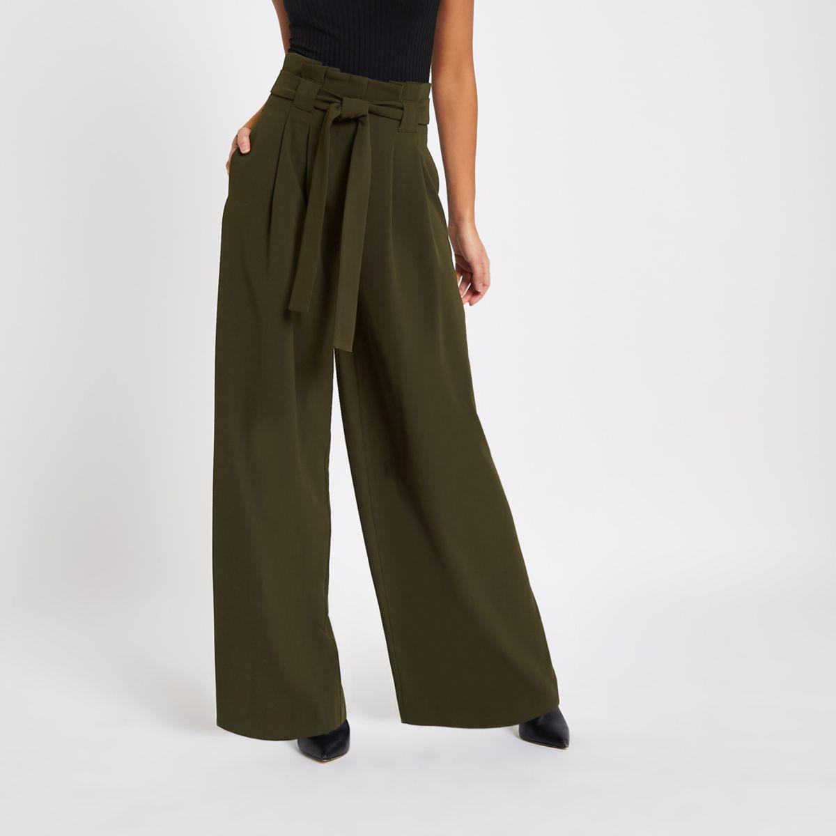Khaki green wide leg pants