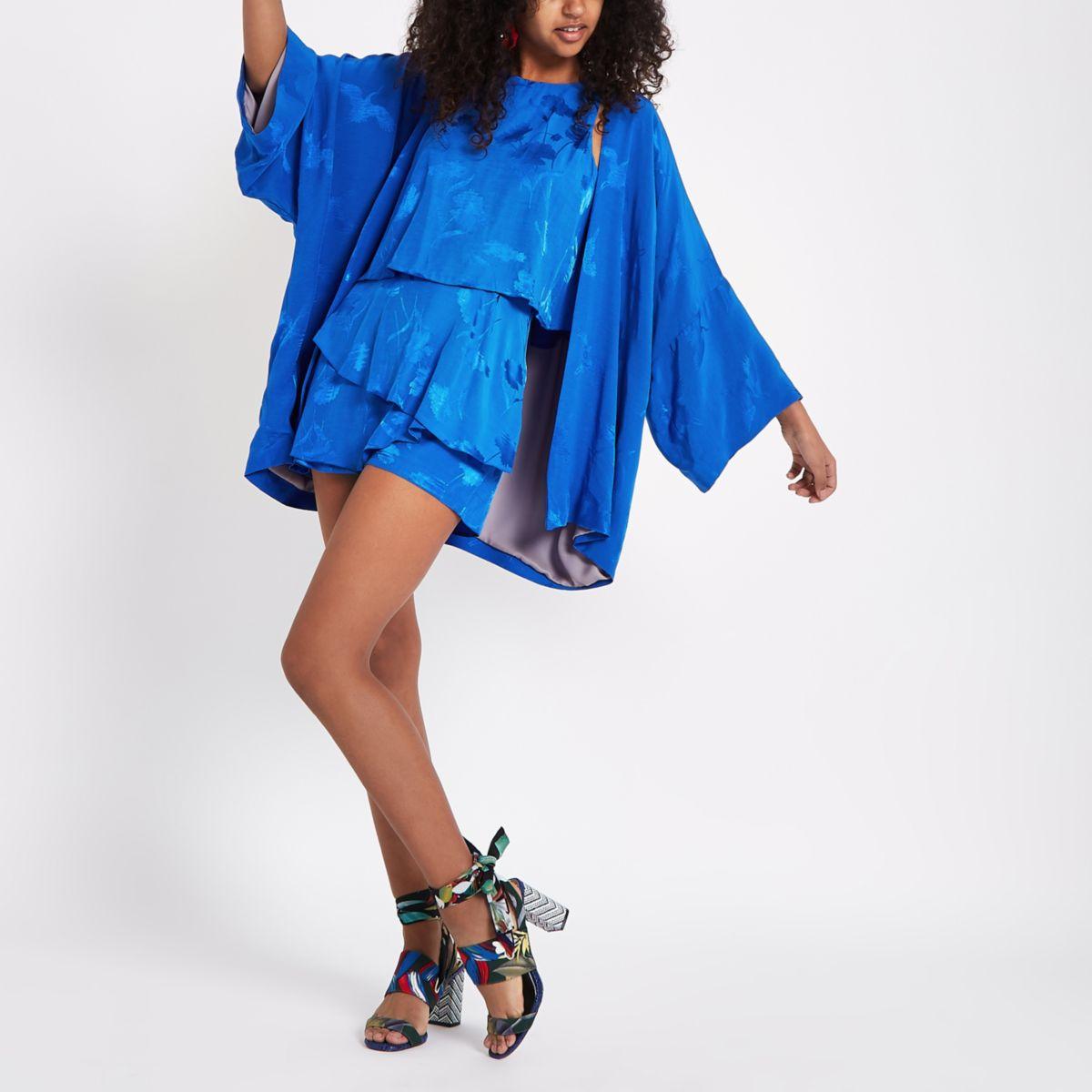 Blue jacquard kimono