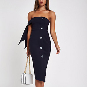 Navy tie sleeve bandeau midi dress