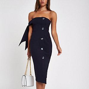 Marineblauwe bandeau midi-jurk met strikjes aan de mouwen