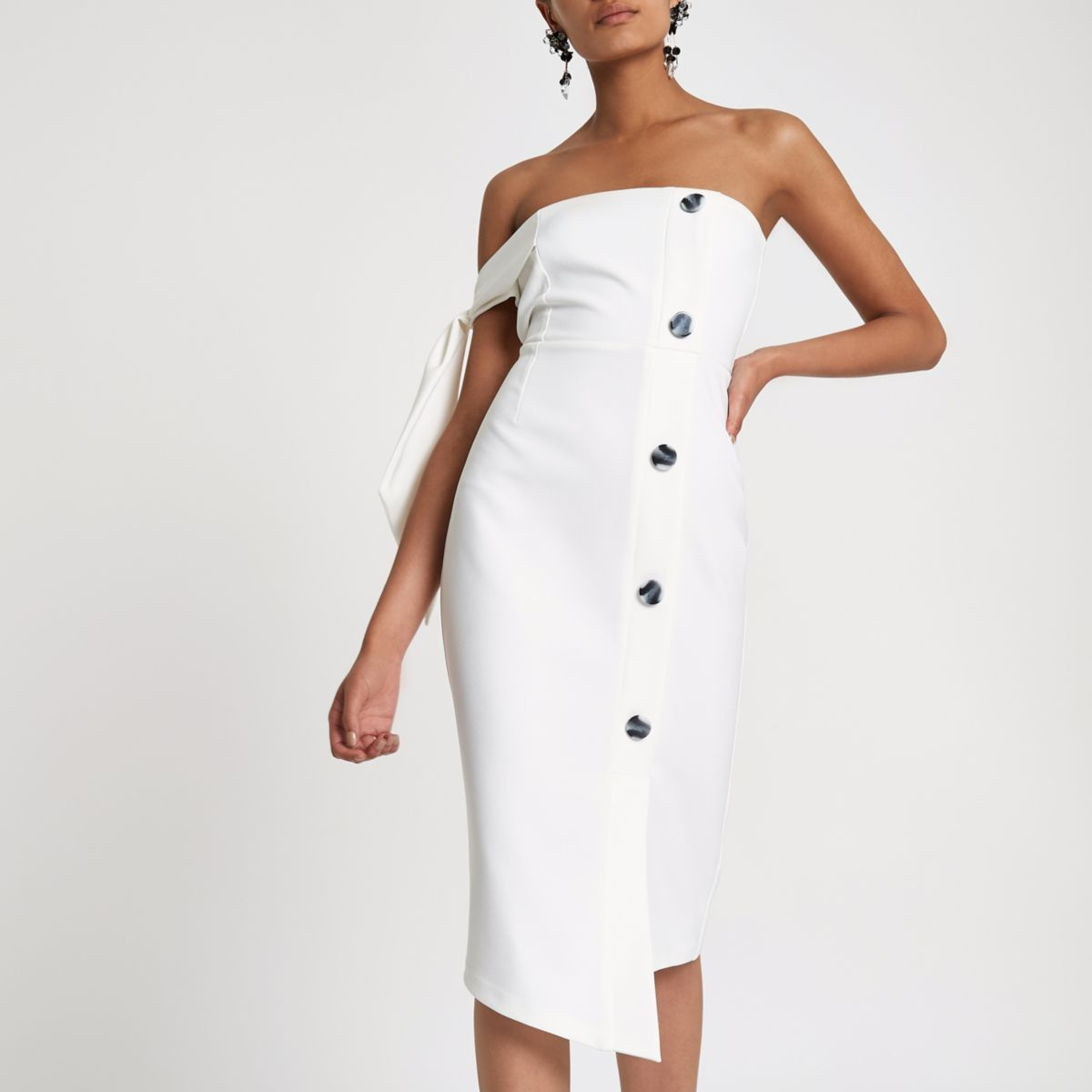 White tie sleeve button bandeau bodycon dress