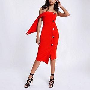 Rood bandeau midi-jurk met strikjes aan de mouwen