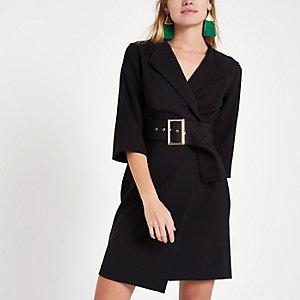Black tux bodycon mini dress