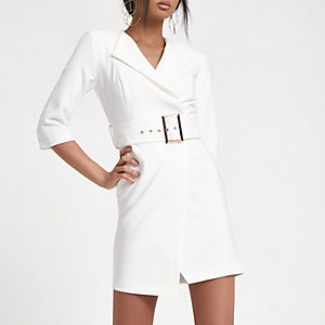 White tux bodycon mini dress