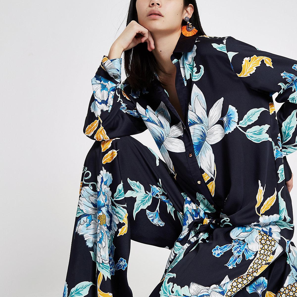 Navy floral satin knot front shirt
