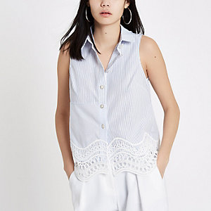 White stripe lace hem sleeveless shirt