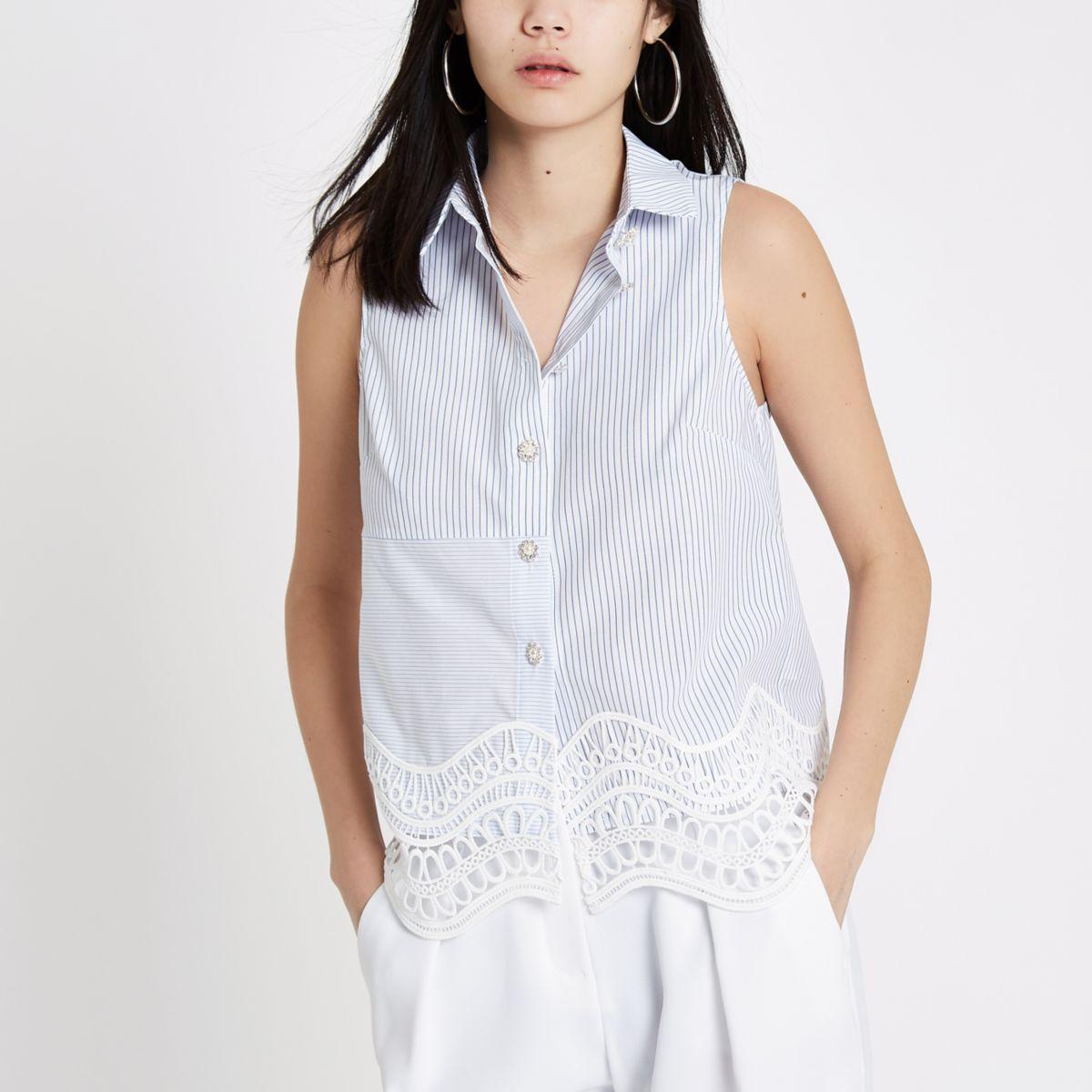White stripe lace hem sleeveless shirt