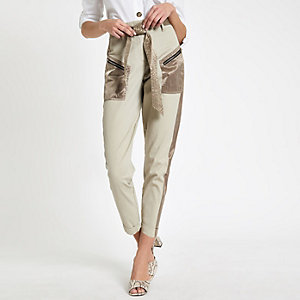 Beige satin detail belted cargo trousers
