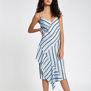 Blue stripe satin frill hem slip dress
