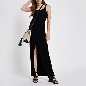 Robe moulante longue côtelée noire
