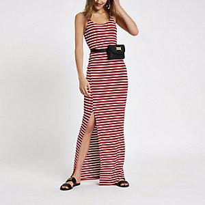 Rode gestreepte geribbelde maxi-jurk met zijsplit