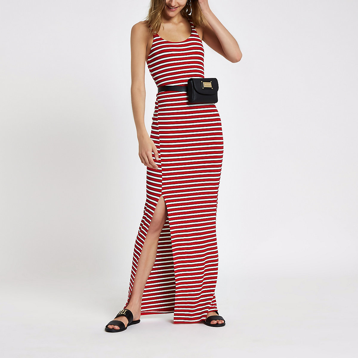 Red stripe ribbed split side maxi dress
