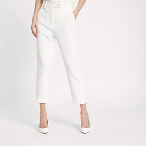 White faux pearl cigarette trousers