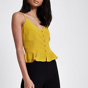 Yellow peplum hem button front cami top