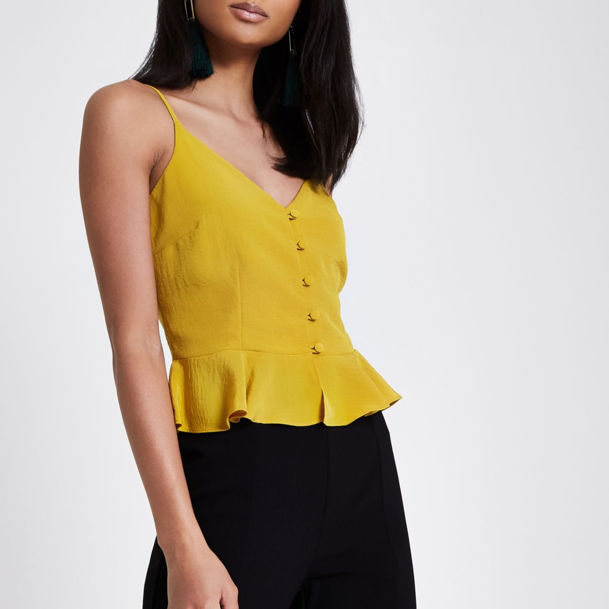 Yellow peplum hem button front cami top