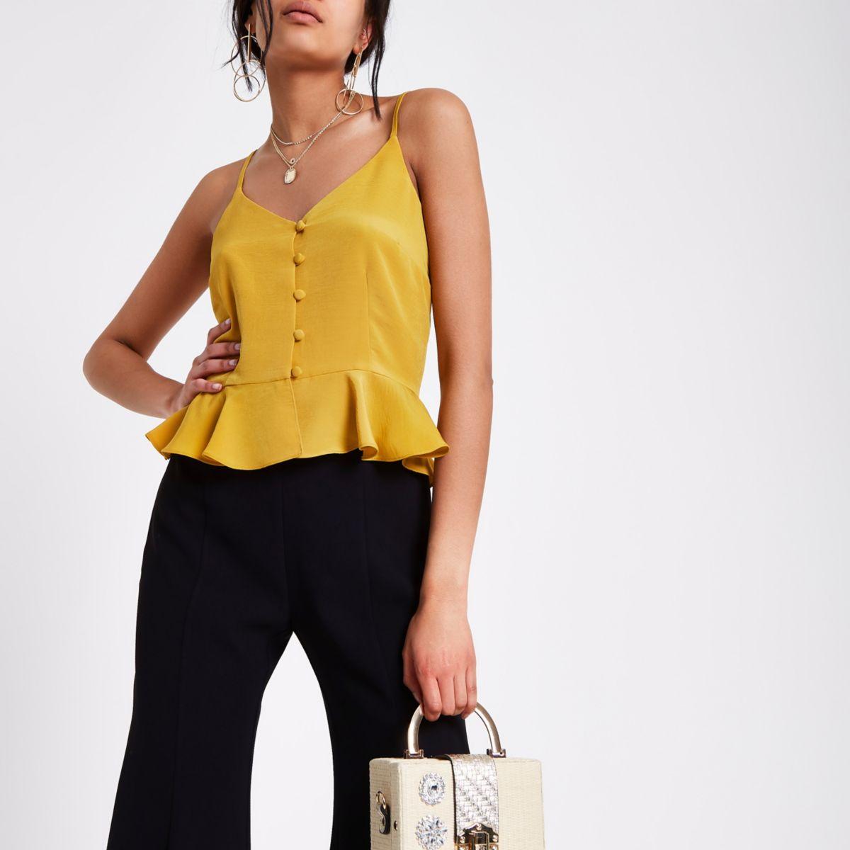 Dark yellow peplum hem button front cami top