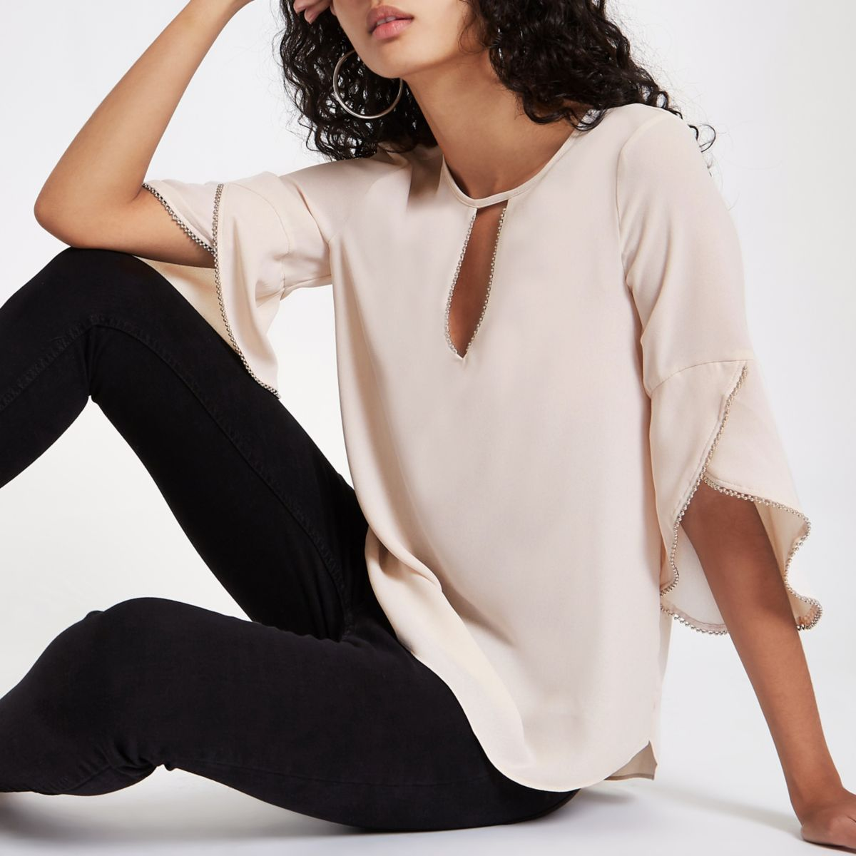 Cream beaded frill blouse