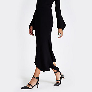 Black knit rib asymmetric hem midi skirt