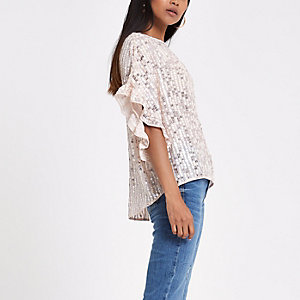Petite pink sequin frill sleeve top