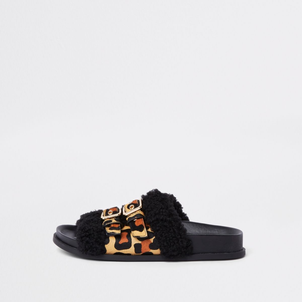 Brown leopard print wide fit buckle sliders