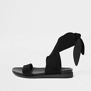 Sandales en daim noires à nouer