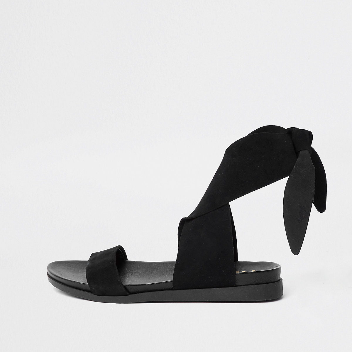Black suede tie up sandals