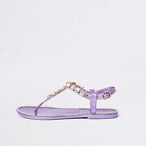 Purple gem embellished jelly sandals