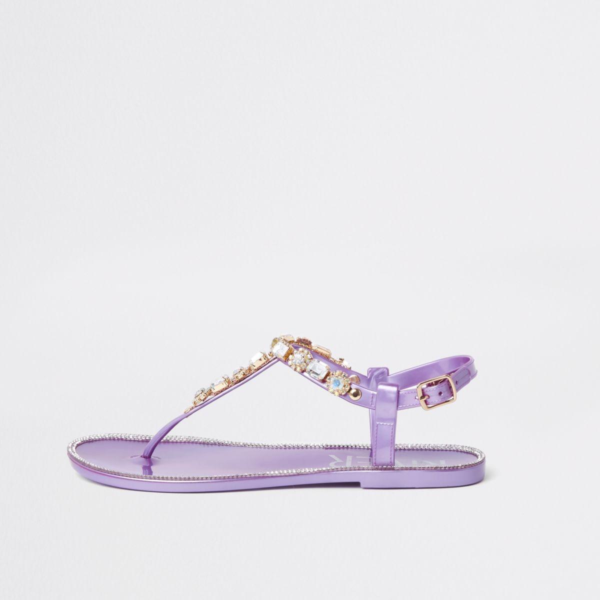 Purple gem embellished jelly sandals